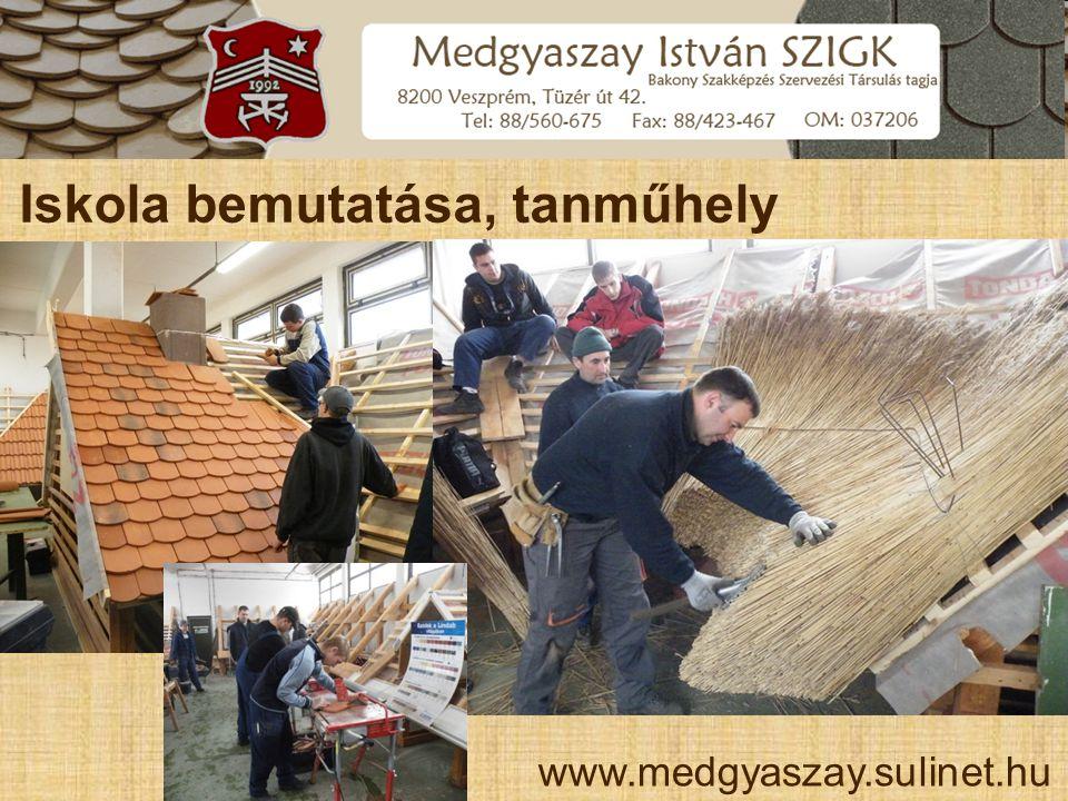 Iskola bemutatása, tanműhely www.medgyaszay.sulinet.hu
