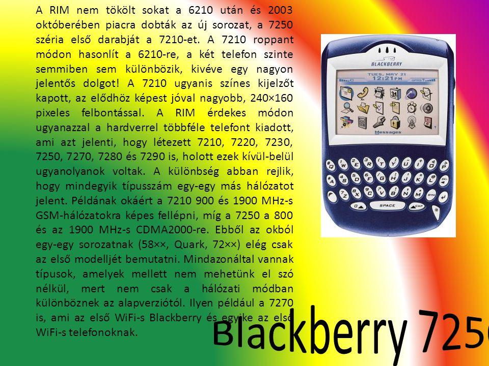 A RIM nem tökölt sokat a 6210 után és 2003 októberében piacra dobták az új sorozat, a 7250 széria első darabját a 7210-et. A 7210 roppant módon hasonl