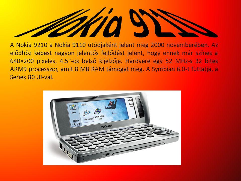 A Nokia 9210 a Nokia 9110 utódjaként jelent meg 2000 novemberében. Az elődhöz képest nagyon jelentős fejlődést jelent, hogy ennek már színes a 640×200