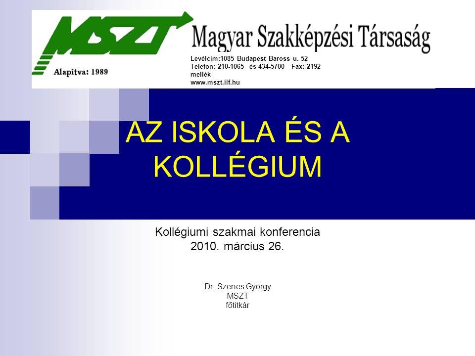 AZ ISKOLA ÉS A KOLLÉGIUM Kollégiumi szakmai konferencia 2010.