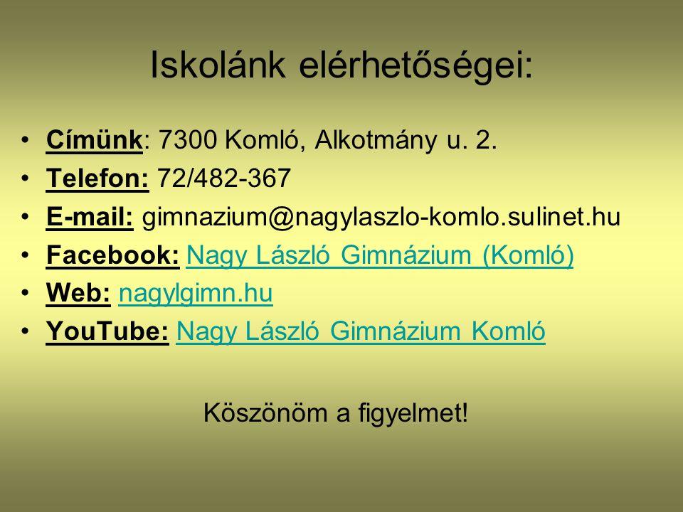 Iskolánk elérhetőségei: •Címünk: 7300 Komló, Alkotmány u. 2. •Telefon: 72/482-367 •E-mail: gimnazium@nagylaszlo-komlo.sulinet.hu •Facebook: Nagy Lászl