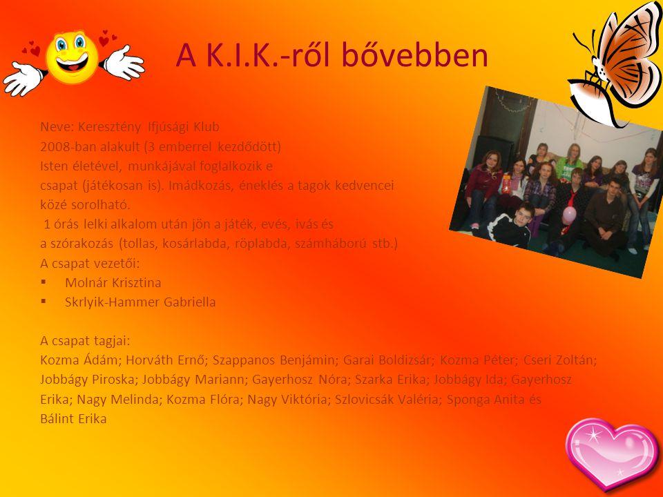 A K.I.K.-ről bővebben Neve: Keresztény Ifjúsági Klub 2008-ban alakult (3 emberrel kezdődött) Isten életével, munkájával foglalkozik e csapat (játékosa