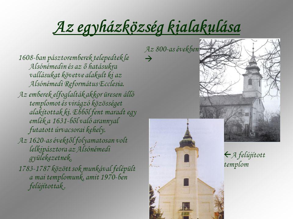 Az egyházközség kialakulása 1608-ban pásztoremberek telepedtek le Alsónémedin és az ő hatásukra vallásukat követve alakult ki az Alsónémedi Református