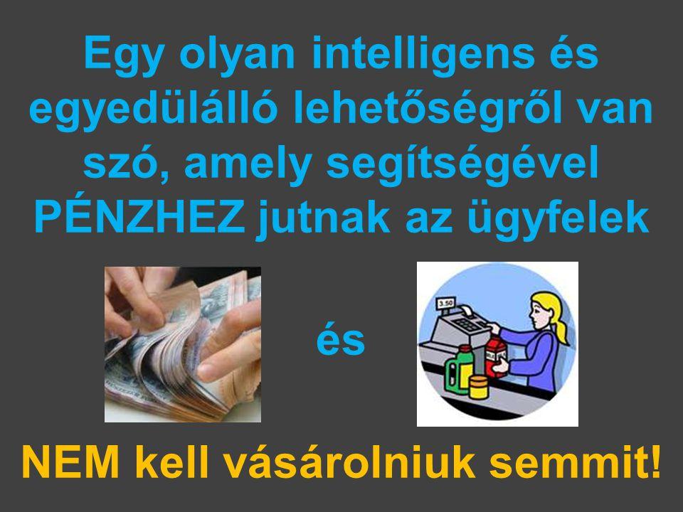 Egy olyan intelligens és egyedülálló lehetőségről van szó, amely segítségével PÉNZHEZ jutnak az ügyfelek és NEM kell vásárolniuk semmit!