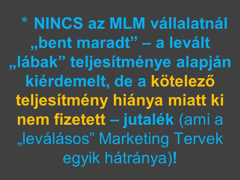"""٭ NINCS az MLM vállalatnál """"bent maradt – a levált """"lábak teljesítménye alapján kiérdemelt, de a kötelező teljesítmény hiánya miatt ki nem fizetett – jutalék (ami a """"leválásos Marketing Tervek egyik hátránya)!"""