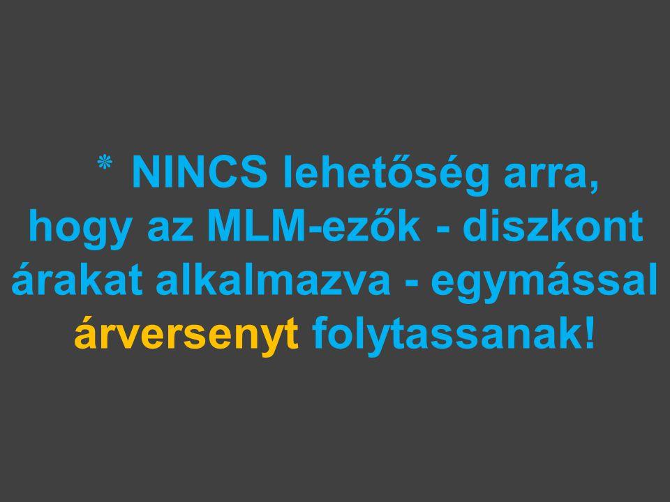 ٭ NINCS lehetőség arra, hogy az MLM-ezők - diszkont árakat alkalmazva - egymással árversenyt folytassanak!