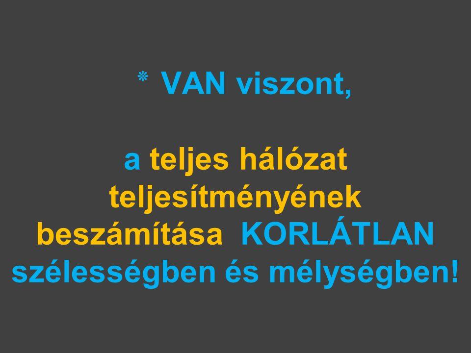٭ VAN viszont, a teljes hálózat teljesítményének beszámítása KORLÁTLAN szélességben és mélységben!