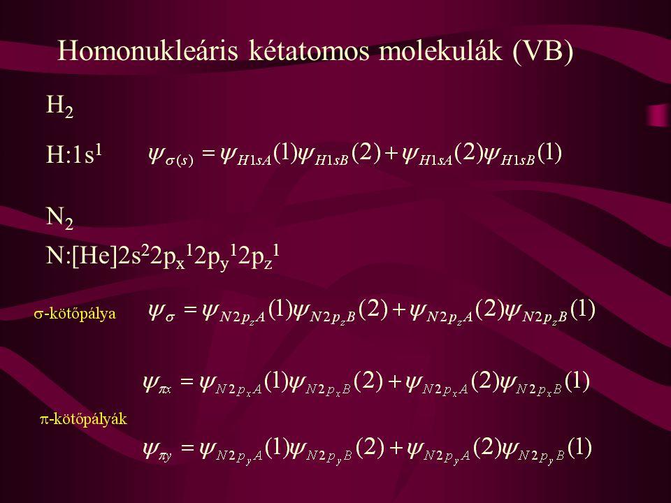 Homonukleáris kétatomos molekulák (VB) H2H2 H:1s 1 N2N2 N:[He]2s 2 2p x 1 2p y 1 2p z 1