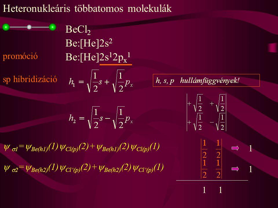 BeCl 2 Be:[He]2s 2 promóció Be:[He]2s 1 2p x 1 sp hibridizáció h, s, p hullámfüggvények.