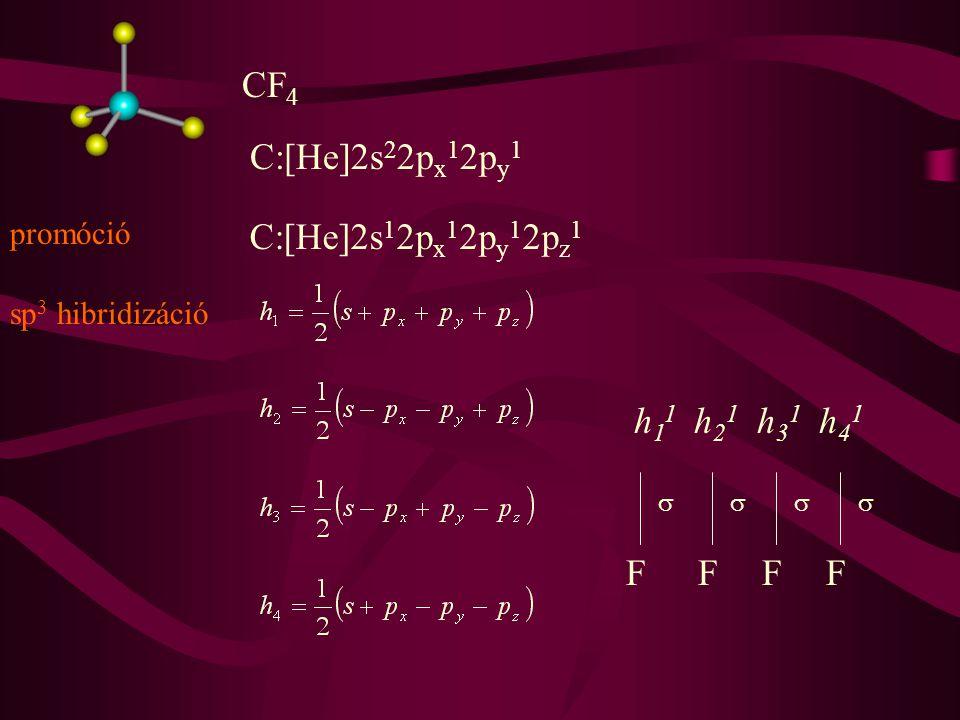 N:[He]2s 2 2p x 1 2p y 1 2p z 1 NH 3 h 1 2 h 2 1 h 3 1 h 4 1  HHH sp 3 hibridizáció  -kötések nemkötő elektronpár