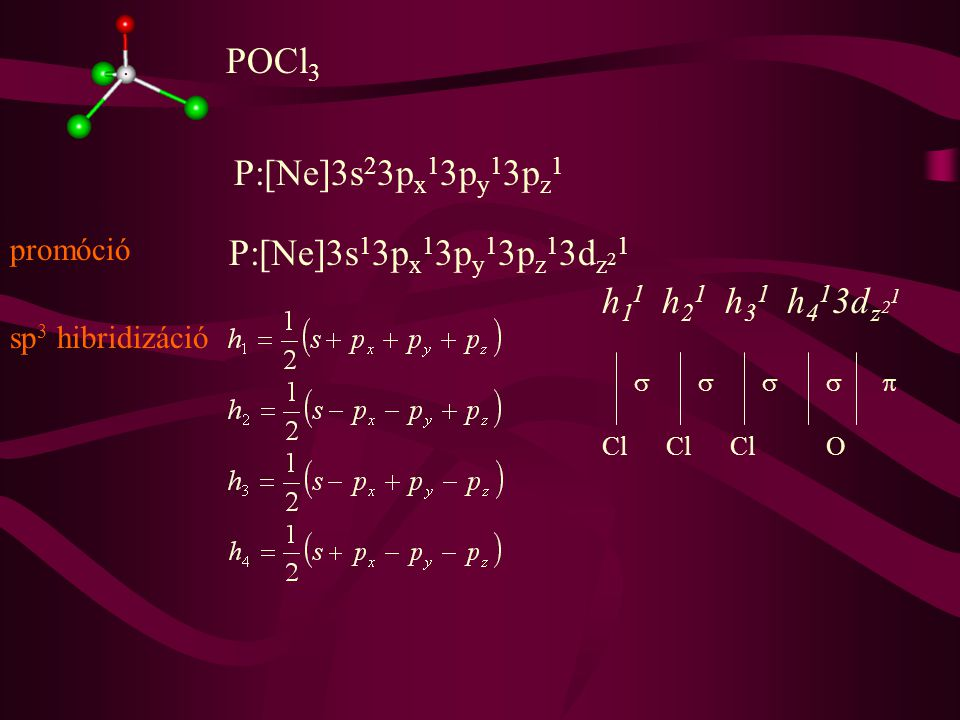 SF 6 S:[Ne]3s 2 3p x 2 3p y 1 3p z 1 S:[Ne]3s 1 3p x 1 3p y 1 3p z 1 3d z 2 1 3d x 2 -y 2 1 promóció sp 3 d 2 hibridizáció