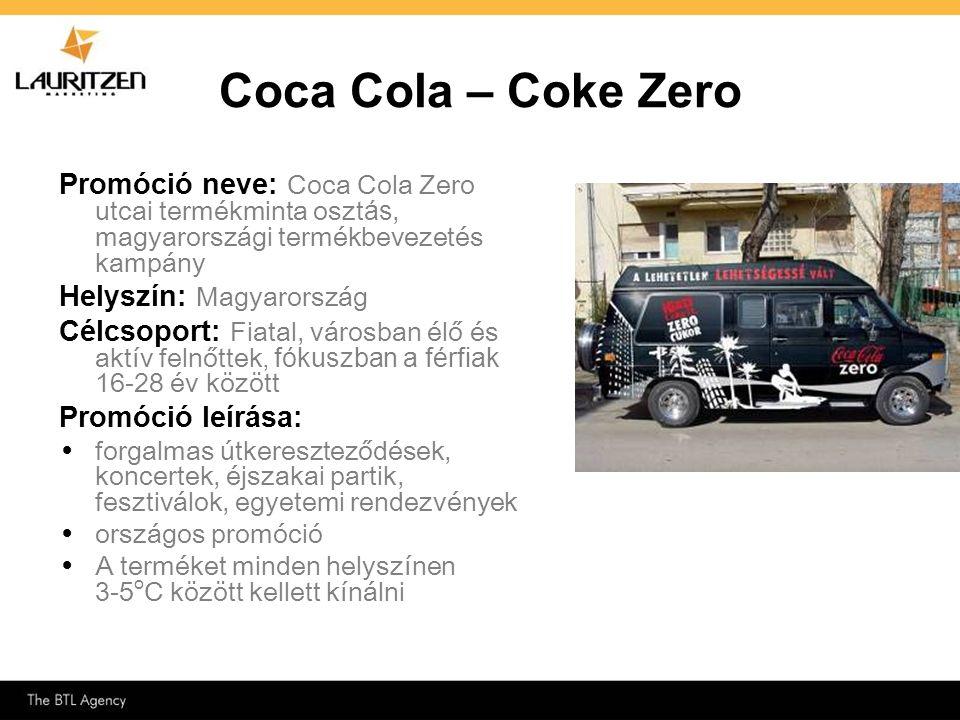 Promóció neve: Coca Cola Zero utcai termékminta oszt ás, magyarországi termékbevezetés kampány Helyszín: Magyarország Célcsoport: Fiatal, városban élő