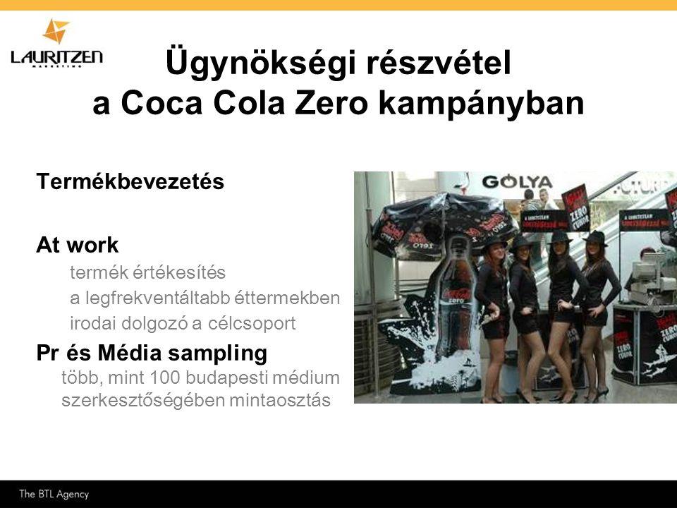 Ügynökségi részvétel a Coca Cola Zero kampányban Termékbevezetés At work termék értékesítés a legfrekventáltabb éttermekben irodai dolgozó a célcsopor