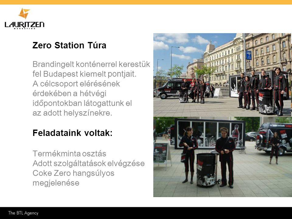 Zero Station Túra Brandingelt konténerrel kerestük fel Budapest kiemelt pontjait. A célcsoport elérésének érdekében a hétvégi időpontokban látogattunk