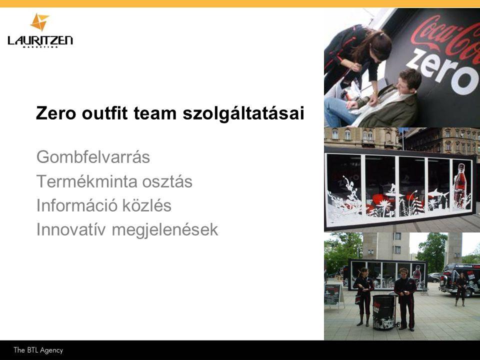 Zero outfit team szolgáltatásai Gombfelvarrás Termékminta osztás Információ közlés Innovatív megjelenések