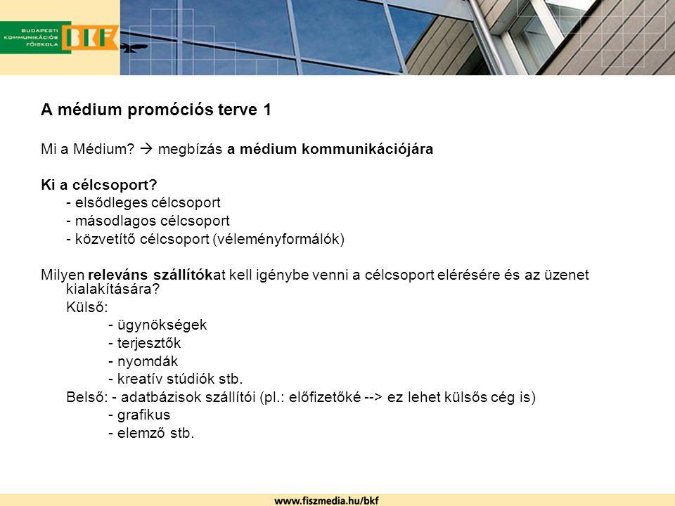 A médium promóciós terve 1 Mi a Médium?  megbízás a médium kommunikációjára Ki a célcsoport? - elsődleges célcsoport - másodlagos célcsoport - közvet