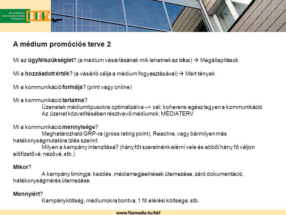 A médium promóciós terve 2 Mi az ügyfélszükséglet? (a médium vásárlásának mik lehetnek az okai)  Megállapítások Mi a hozzáadott érték? (a vásárló cél
