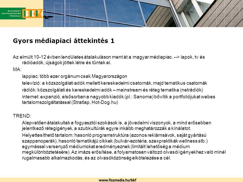 Gyors médiapiaci áttekintés 1 Az elmúlt 10-12 évben lendületes átalakuláson ment át a magyar médiapiac. --> lapok, tv és rádióadók, újságok jöttek lét