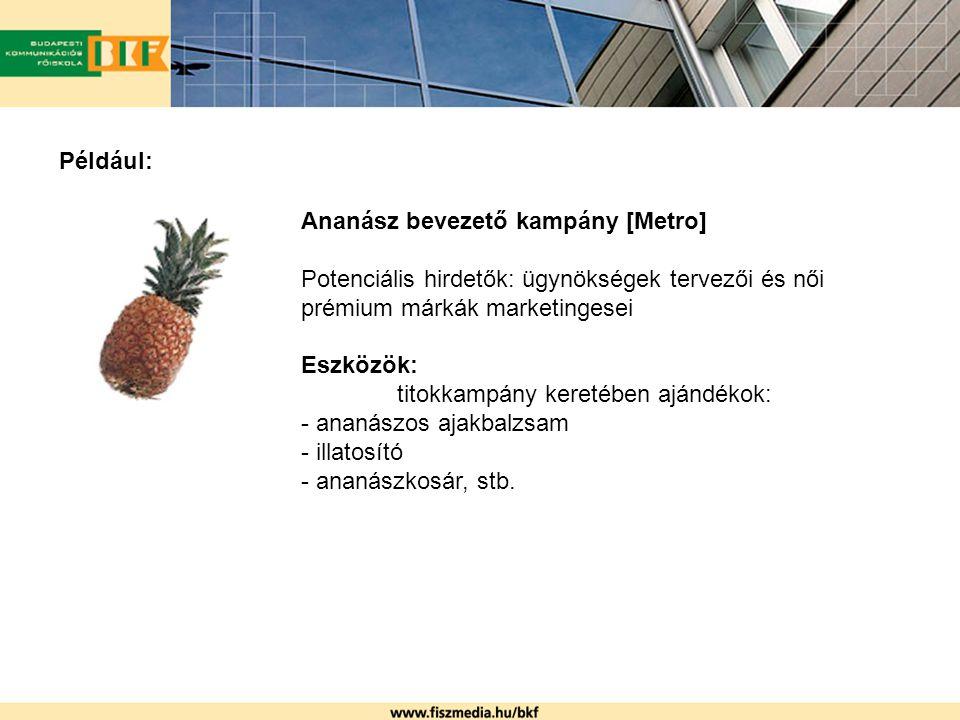 Például: Ananász bevezető kampány [Metro] Potenciális hirdetők: ügynökségek tervezői és női prémium márkák marketingesei Eszközök: titokkampány keretében ajándékok: - ananászos ajakbalzsam - illatosító - ananászkosár, stb.