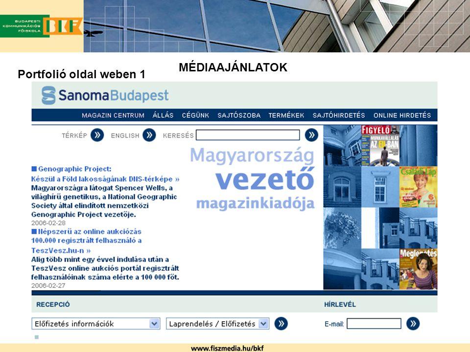 MÉDIAAJÁNLATOK Portfolió oldal weben 1