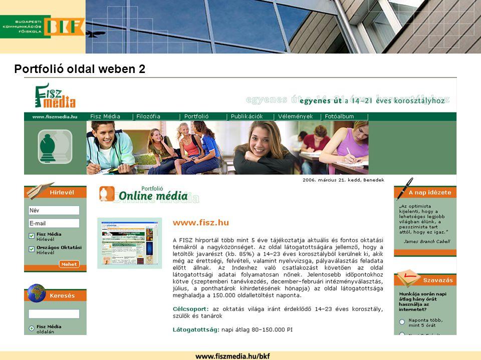 Portfolió oldal weben 2