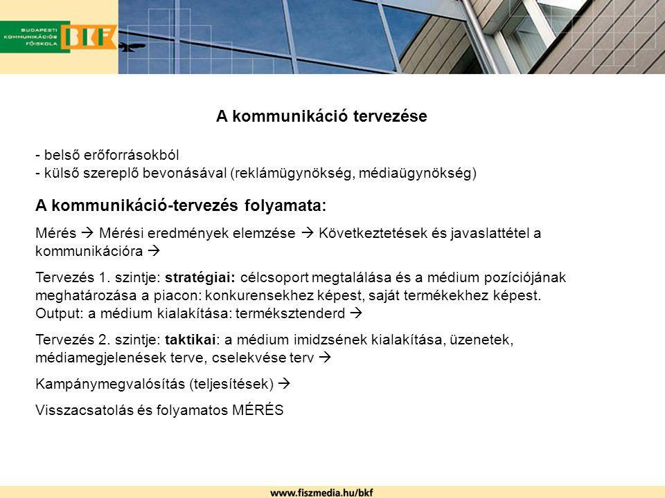 A kommunikáció tervezése - belső erőforrásokból - külső szereplő bevonásával (reklámügynökség, médiaügynökség) A kommunikáció-tervezés folyamata: Méré