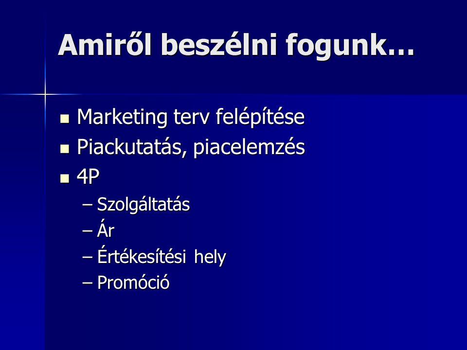 Amiről beszélni fogunk…  Marketing terv felépítése  Piackutatás, piacelemzés  4P –Szolgáltatás –Ár –Értékesítési hely –Promóció