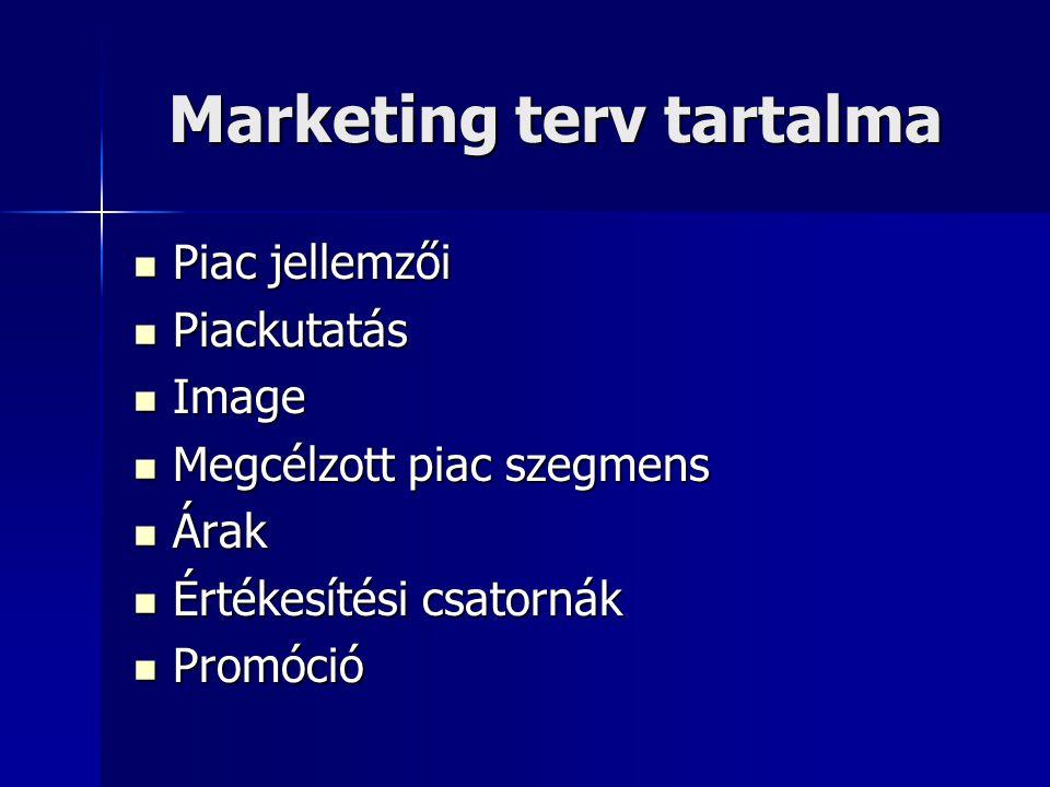 Marketing terv tartalma  Piac jellemzői  Piackutatás  Image  Megcélzott piac szegmens  Árak  Értékesítési csatornák  Promóció