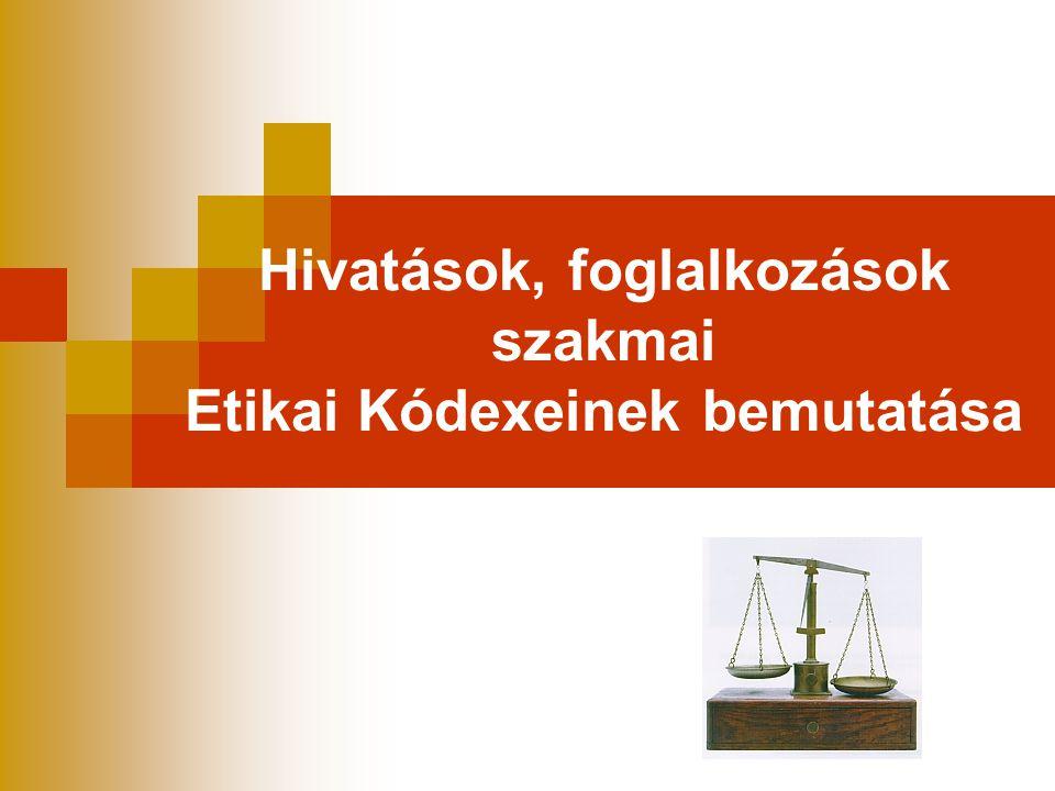 AZ etikai kódex helye a szabályok hierarchiájában  Jogszabály  Szakmai szabály  Etikai kódex  Illem, kultúra
