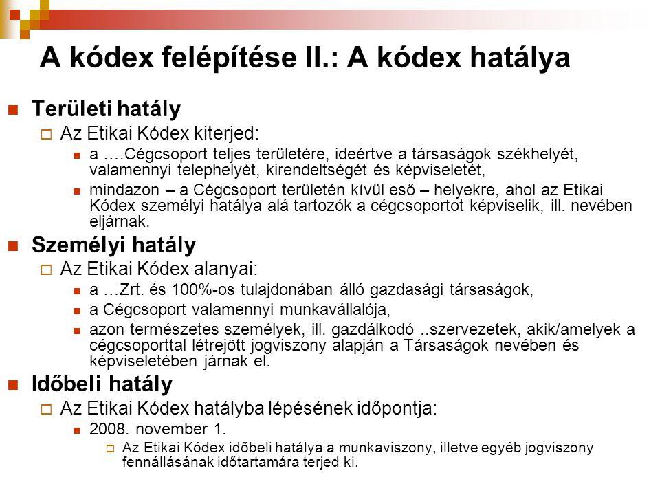 A kódex felépítése II.: A kódex hatálya  Területi hatály  Az Etikai Kódex kiterjed:  a ….Cégcsoport teljes területére, ideértve a társaságok székhe