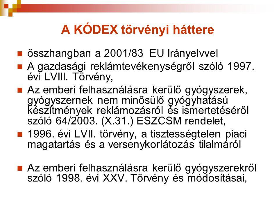 A KÓDEX törvényi háttere  összhangban a 2001/83 EU Irányelvvel  A gazdasági reklámtevékenységről szóló 1997. évi LVIII. Törvény,  Az emberi felhasz