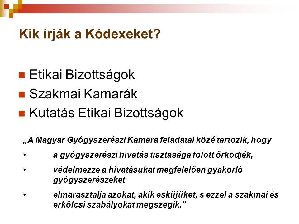 """Kik írják a Kódexeket?  Etikai Bizottságok  Szakmai Kamarák  Kutatás Etikai Bizottságok """"A Magyar Gyógyszerészi Kamara feladatai közé tartozik, hog"""