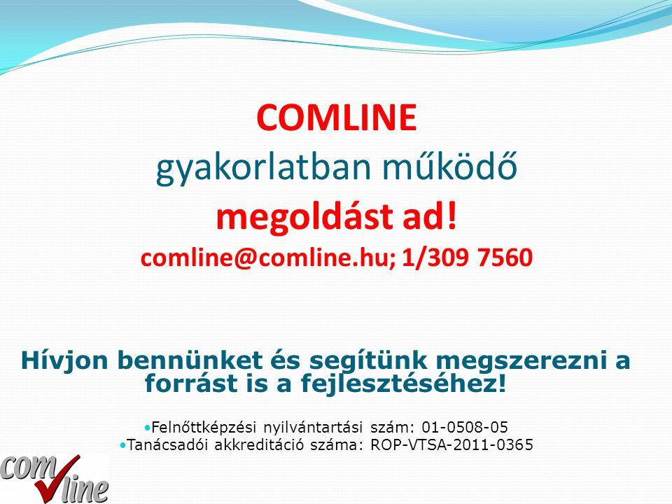 COMLINE gyakorlatban működő megoldást ad! comline@comline.hu; 1/309 7560 Hívjon bennünket és segítünk megszerezni a forrást is a fejlesztéséhez!  Fel