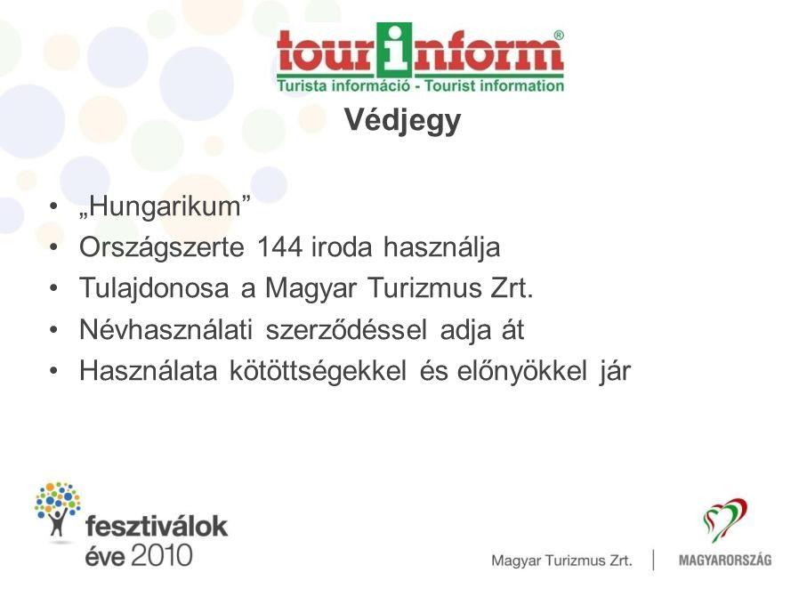 """Védjegy •""""Hungarikum •Országszerte 144 iroda használja •Tulajdonosa a Magyar Turizmus Zrt."""
