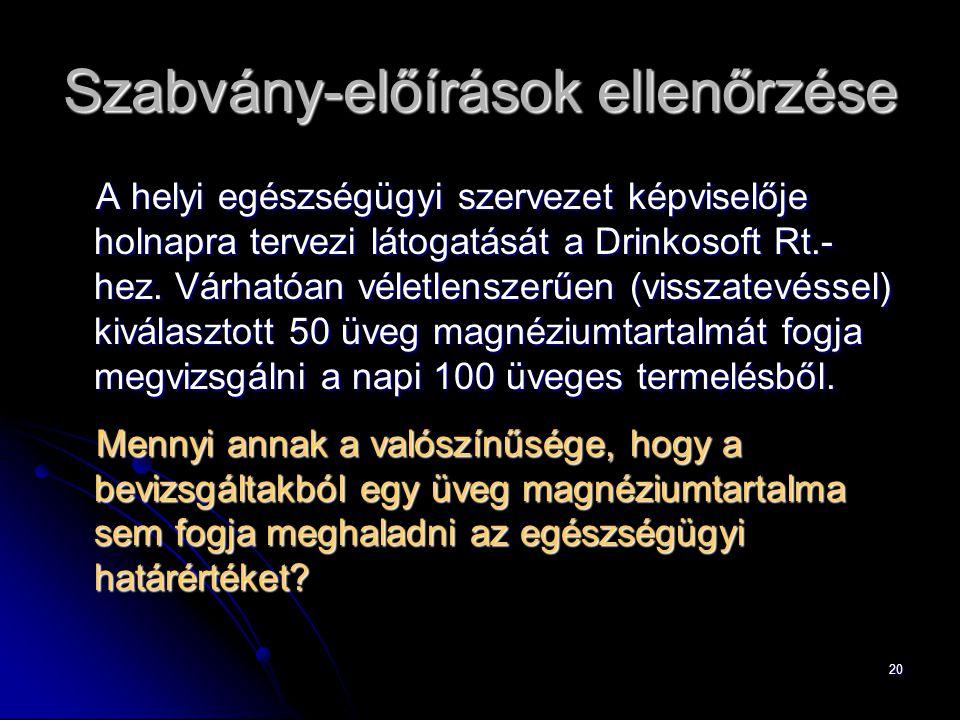 20 Szabvány-előírások ellenőrzése A helyi egészségügyi szervezet képviselője holnapra tervezi látogatását a Drinkosoft Rt.- hez.