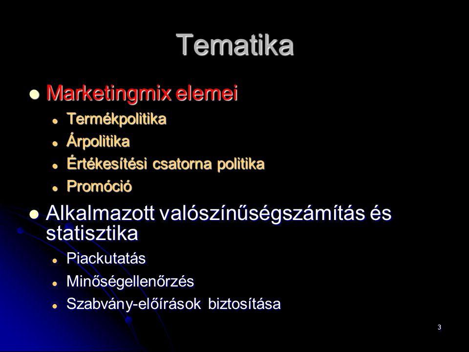 4 Marketingmix elemei (4P) 1.Termékpolitika  Product 2.