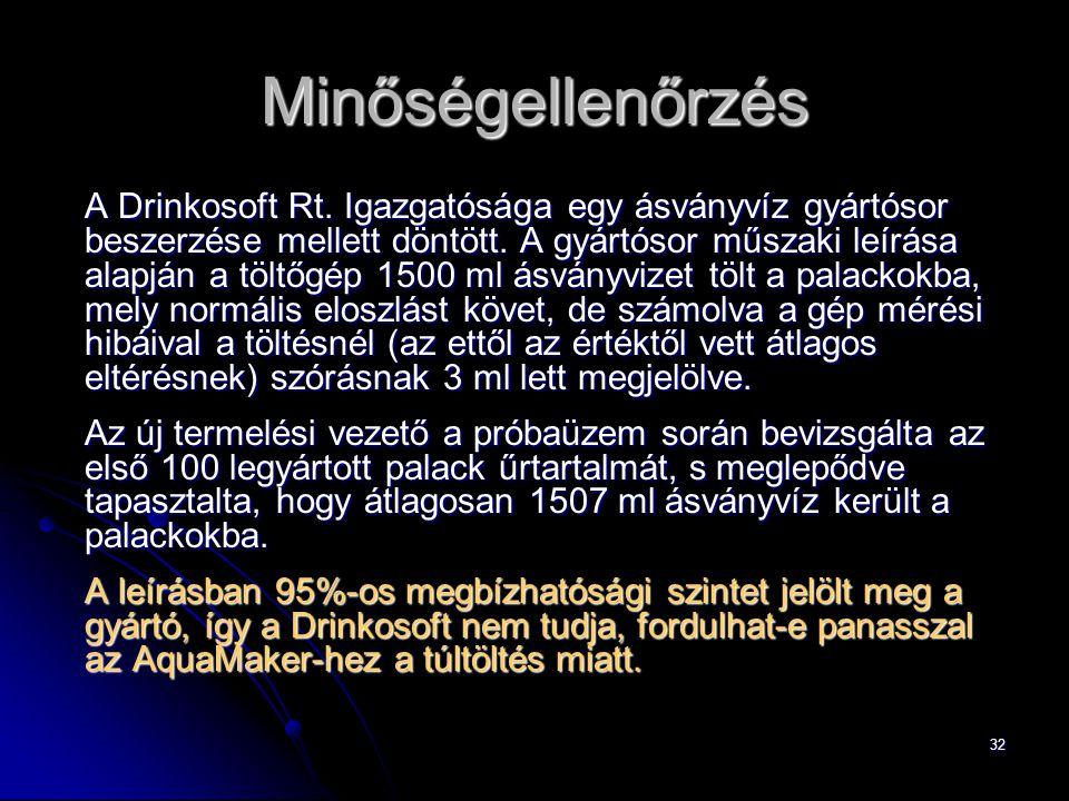 32 Minőségellenőrzés A Drinkosoft Rt.