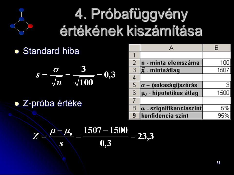 38 4. Próbafüggvény értékének kiszámítása  Standard hiba  Z-próba értéke