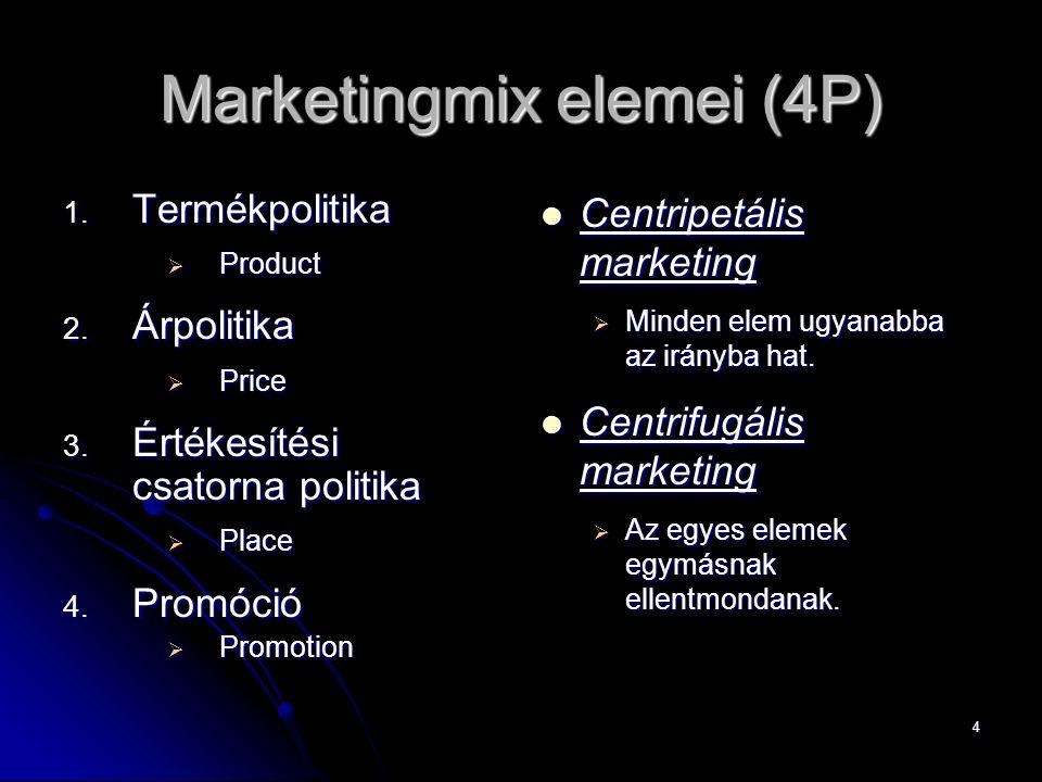 4 Marketingmix elemei (4P) 1. Termékpolitika  Product 2.