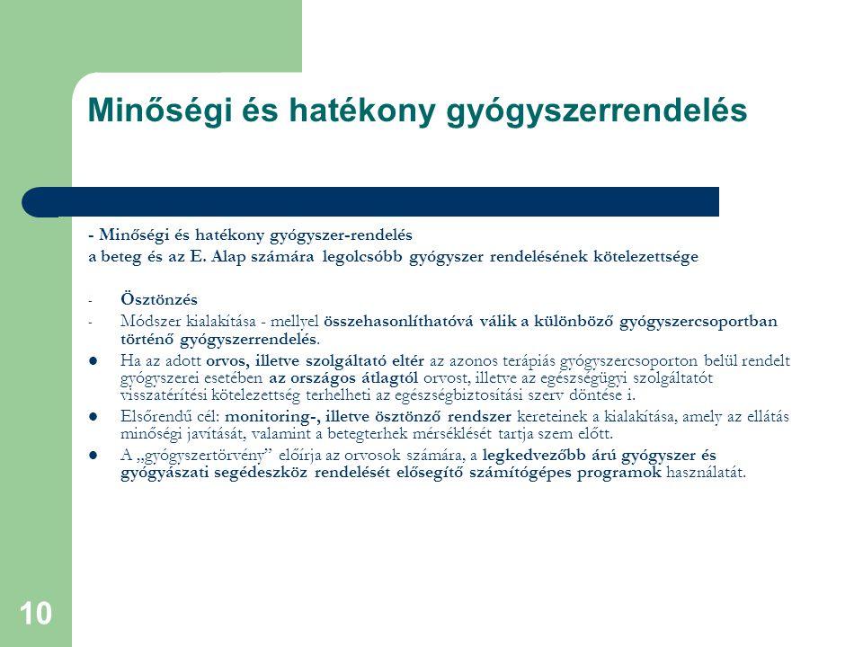 10 Minőségi és hatékony gyógyszerrendelés - Minőségi és hatékony gyógyszer-rendelés a beteg és az E.