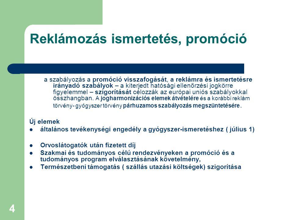 4 Reklámozás ismertetés, promóció a szabályozás a promóció visszafogását, a reklámra és ismertetésre irányadó szabályok – a kiterjedt hatósági ellenőrzési jogkörre figyelemmel – szigorítását célozzák az európai uniós szabályokkal összhangban.
