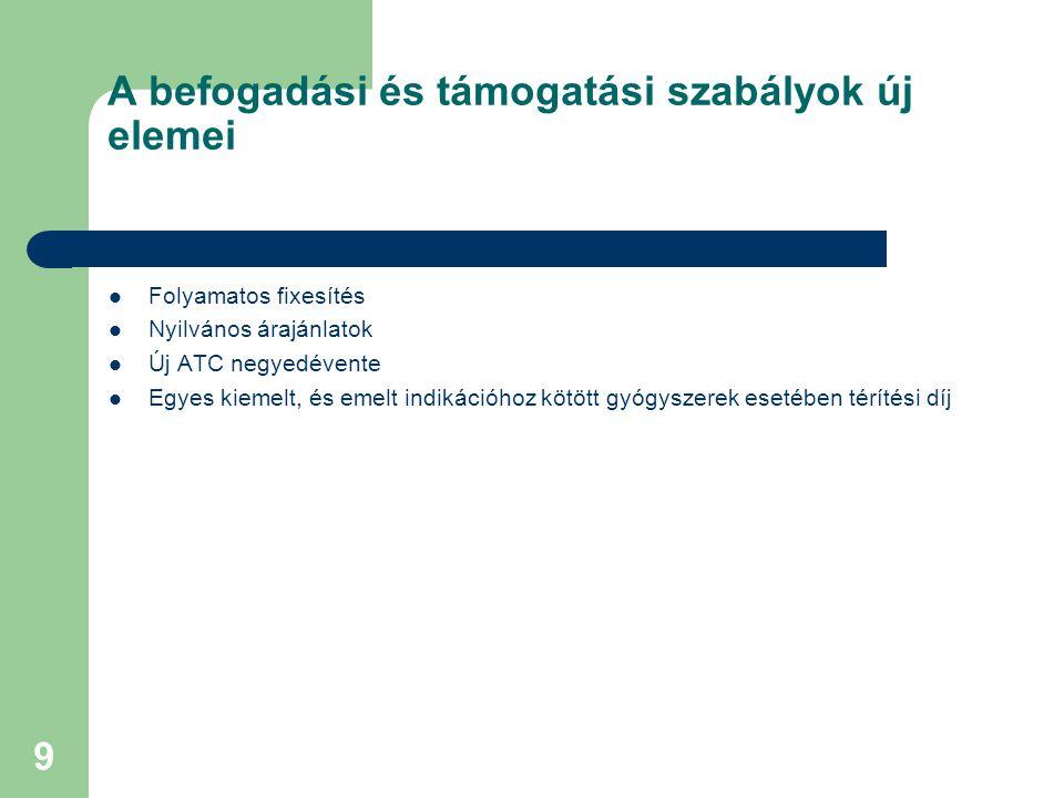 9 A befogadási és támogatási szabályok új elemei  Folyamatos fixesítés  Nyilvános árajánlatok  Új ATC negyedévente  Egyes kiemelt, és emelt indikációhoz kötött gyógyszerek esetében térítési díj