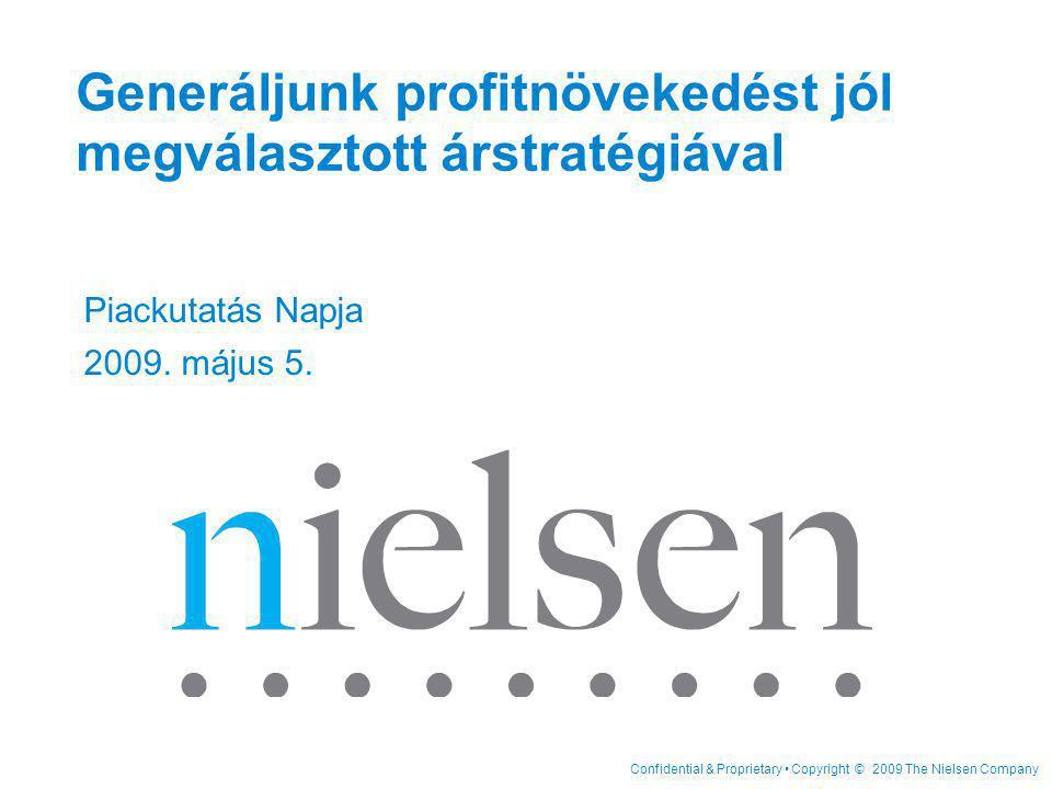 """Confidential & Proprietary Copyright © 2009 The Nielsen Company Page 12 Márka A Teljes árrugalmasság = -2.1 Márka A Saját -1.1 Versenytárs C Relatív ár a versenytárshoz - 0.4 Gyártó X Márka B Relatív ár -0.6 """"Márka A 1%-os áremelése -2.1%-os mennyiségi csökkenéshez vezet: ► - 0.6% melyet a """"Márka B - hez (portfólión belül) viszonyított reltív árviszony határoz meg ► - 0.4% a versenytárs """"Márka C -hez viszonyított árviszony eredménye ► -1.1% melyet saját polci ára határoz meg Kereszt rugalmasságok Árrugalmassági összetevők 52%28%20% abszolútrelatív saját relatív versenytárs"""