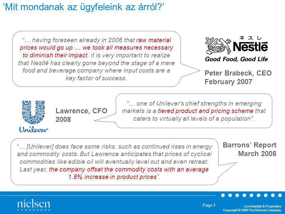 Confidential & Proprietary Copyright © 2009 The Nielsen Company Page 14 Az egyes kategóriák árrugalmassága jelentősen eltér.