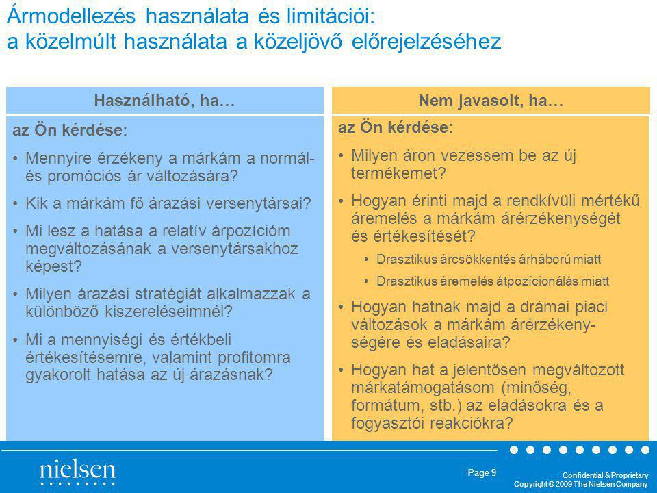 Confidential & Proprietary Copyright © 2009 The Nielsen Company Page 9 Ármodellezés használata és limitációi: a közelmúlt használata a közeljövő előre
