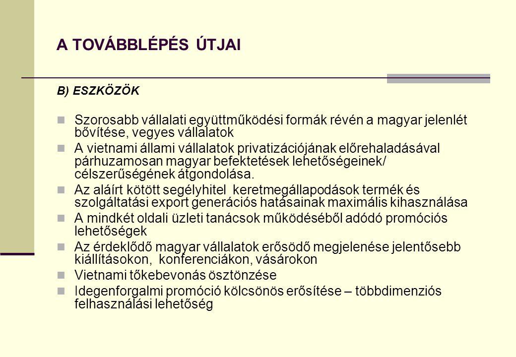 A TOVÁBBLÉPÉS ÚTJAI B) ESZKÖZÖK  Szorosabb vállalati együttműködési formák révén a magyar jelenlét bővítése, vegyes vállalatok  A vietnami állami vá