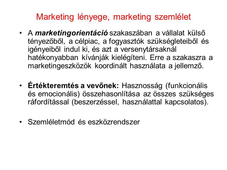 Marketing lényege, marketing szemlélet •A marketingorientáció szakaszában a vállalat külső tényezőből, a célpiac, a fogyasztók szükségleteiből és igén
