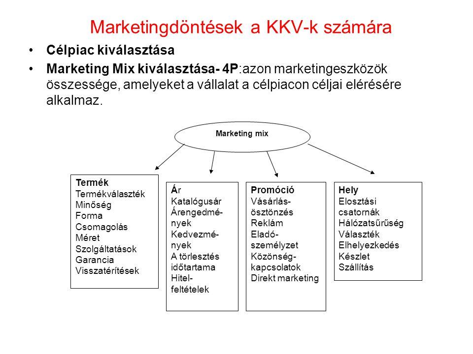 Marketingdöntések a KKV-k számára •Célpiac kiválasztása •Marketing Mix kiválasztása- 4P:azon marketingeszközök összessége, amelyeket a vállalat a célp