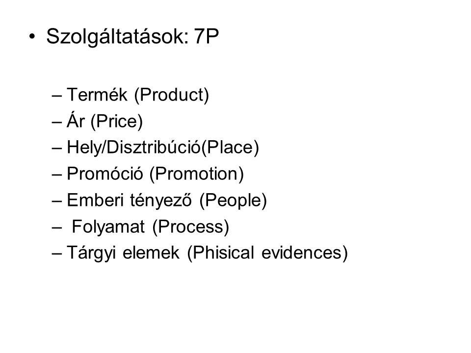 •Szolgáltatások: 7P –Termék (Product) –Ár (Price) –Hely/Disztribúció(Place) –Promóció (Promotion) –Emberi tényező (People) – Folyamat (Process) –Tárgy