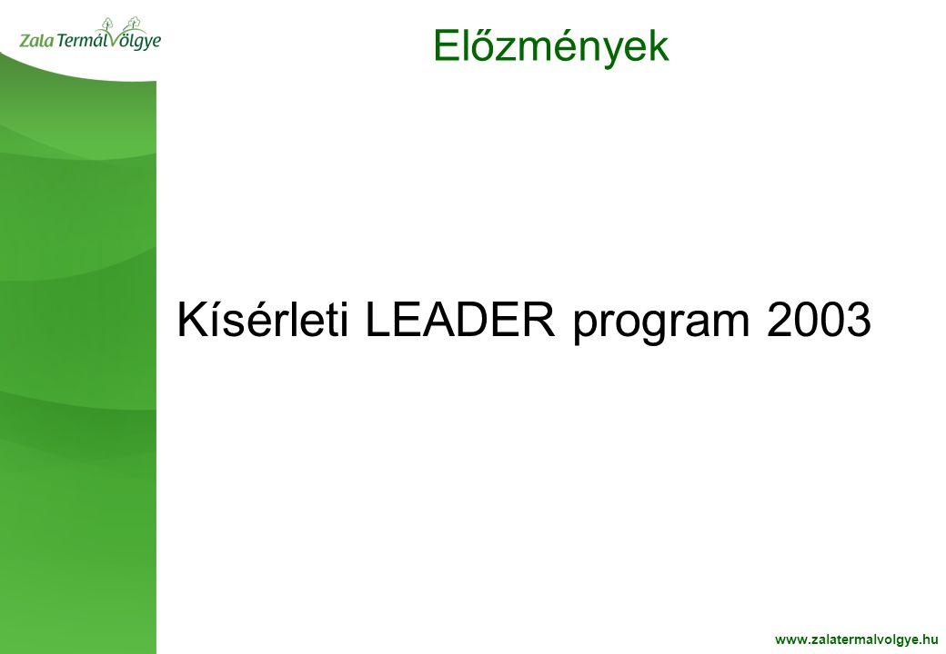 BelsoOldalFehér2 Előzmények www.zalatermalvolgye.hu Kísérleti LEADER program 2003